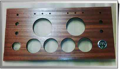 water jet cut wooden instrument panel